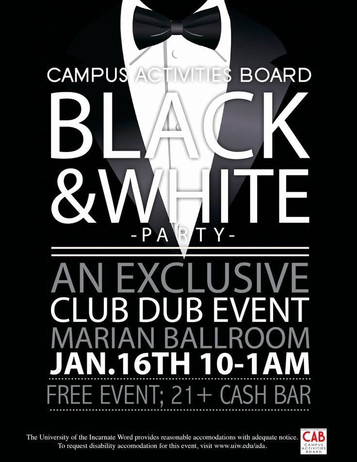 Black and White Flyer Design Unique Campus Activities Board Black and White Party Flyer I