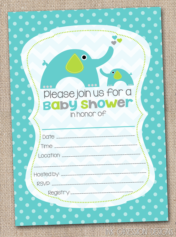 Blank Baby Shower Template Elegant Ink Obsession Designs Fill In the Blank Elephant Baby