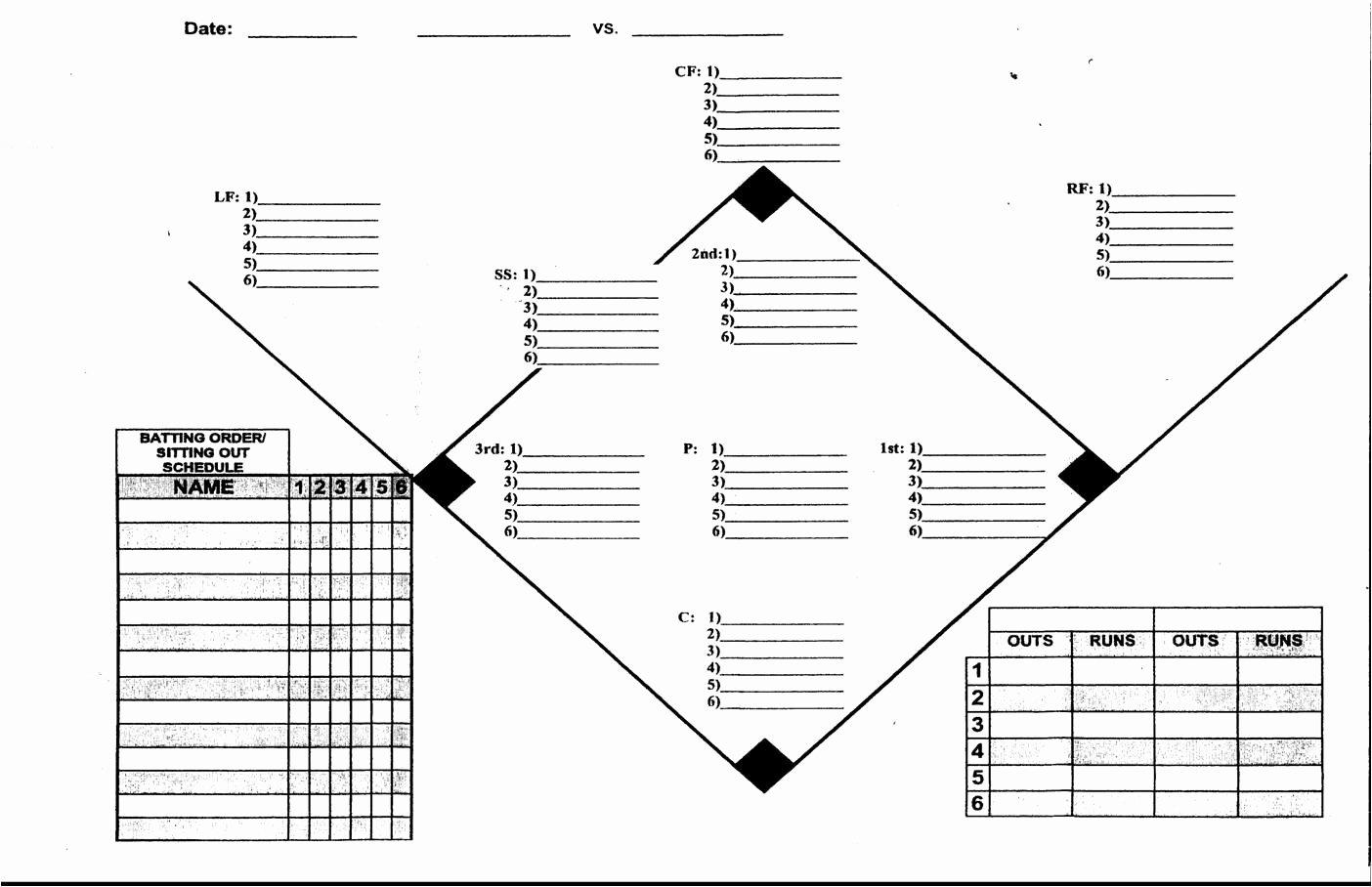 Blank Baseball Lineup Card Fresh Coaches