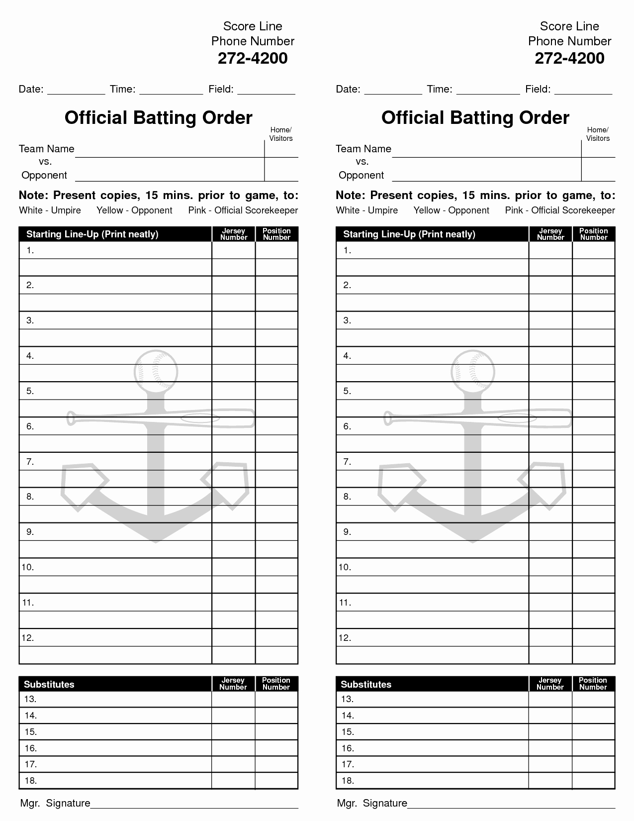 Blank Baseball Lineup Card New 26 Of Batting order Template