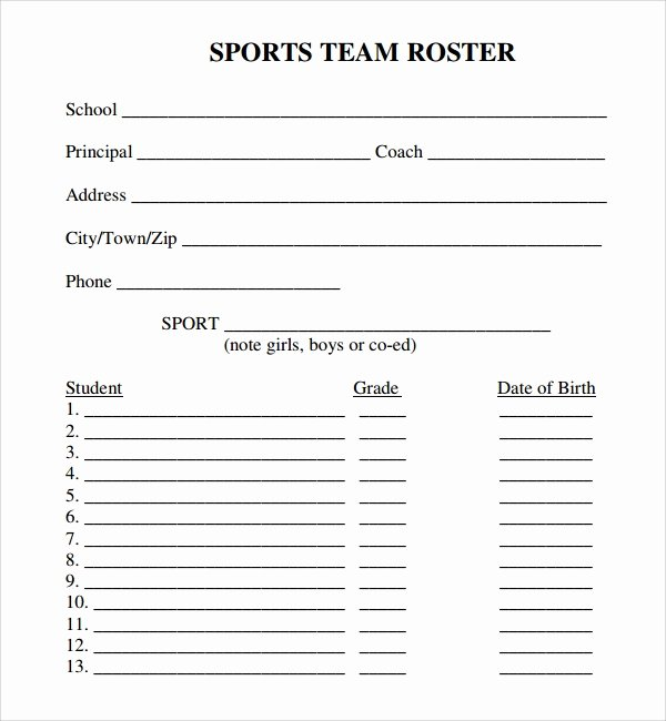 Blank Basketball Practice Plan Template Best Of Sample Sports Roster Template 7 Free Documents Download