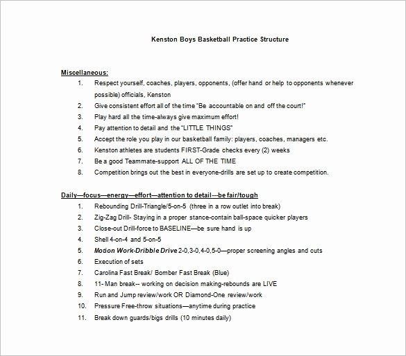 Blank Basketball Practice Plan Template Fresh Basketball Practice Plan Template 3 Free Word Pdf