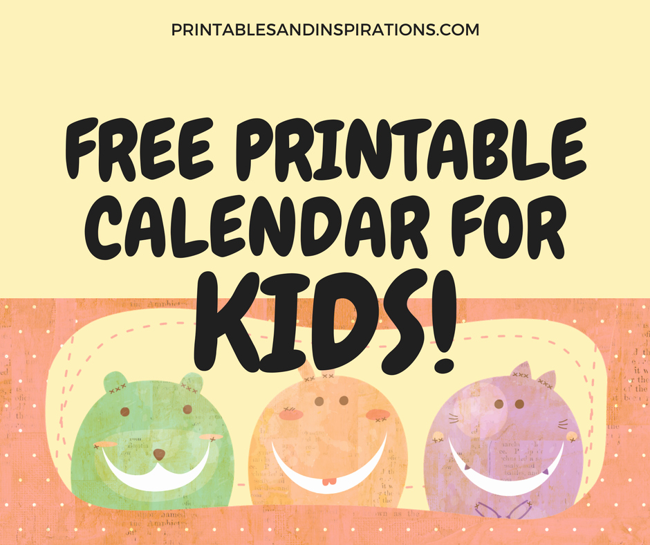 Blank Calendar for Kids Awesome 2018 Free Printable Calendar for Kids Printables and