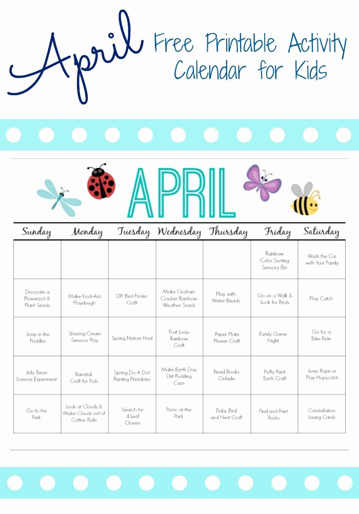 Blank Calendar for Kids Awesome Printable Activity Calendar for Kids Free Printable From