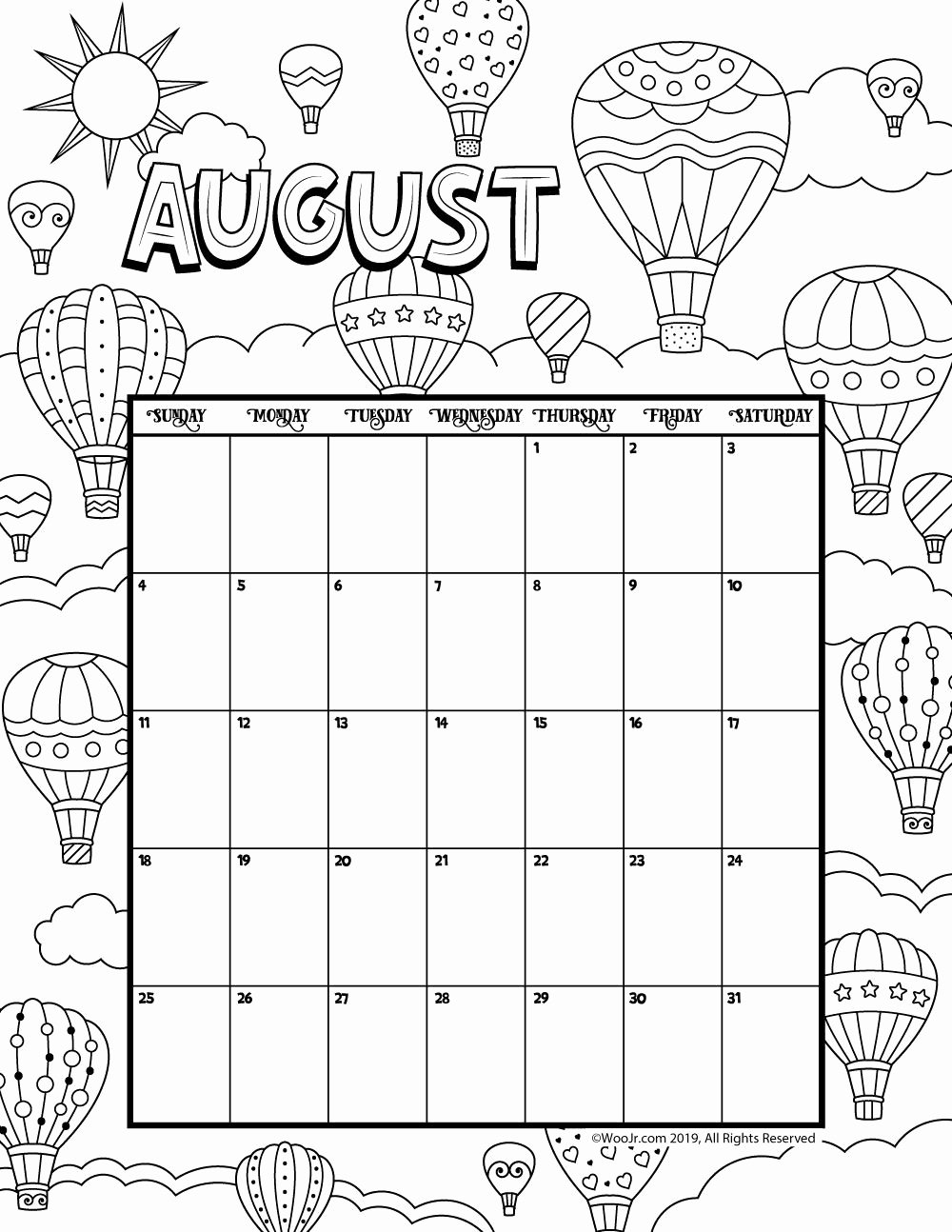 Blank Calendar for Kids Best Of August 2019 Coloring Calendar Calender