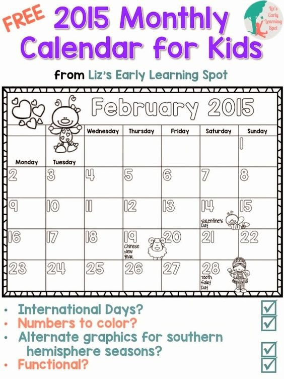 Blank Calendar for Kids Best Of Calendar for Kids Monthly Calendars and Classroom