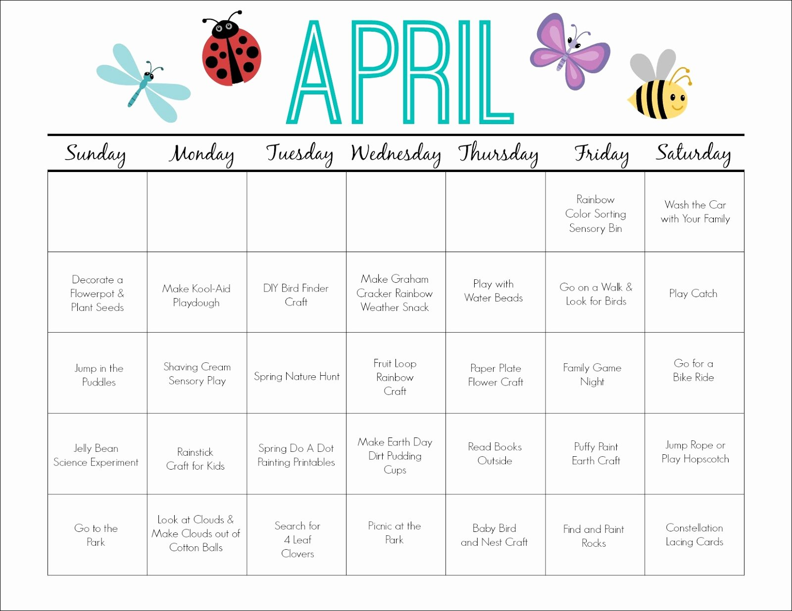 Blank Calendar for Kids Best Of Printable Activity Calendar for Kids Free Printable From