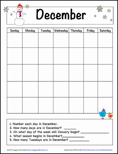 Blank Calendar for Kids Fresh December Learning Calendar for Kids Free Printable