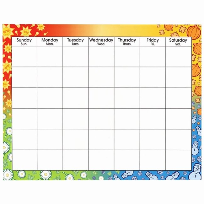 Blank Calendar for Kids Inspirational 14 Blank Activity Calendar Template Printable