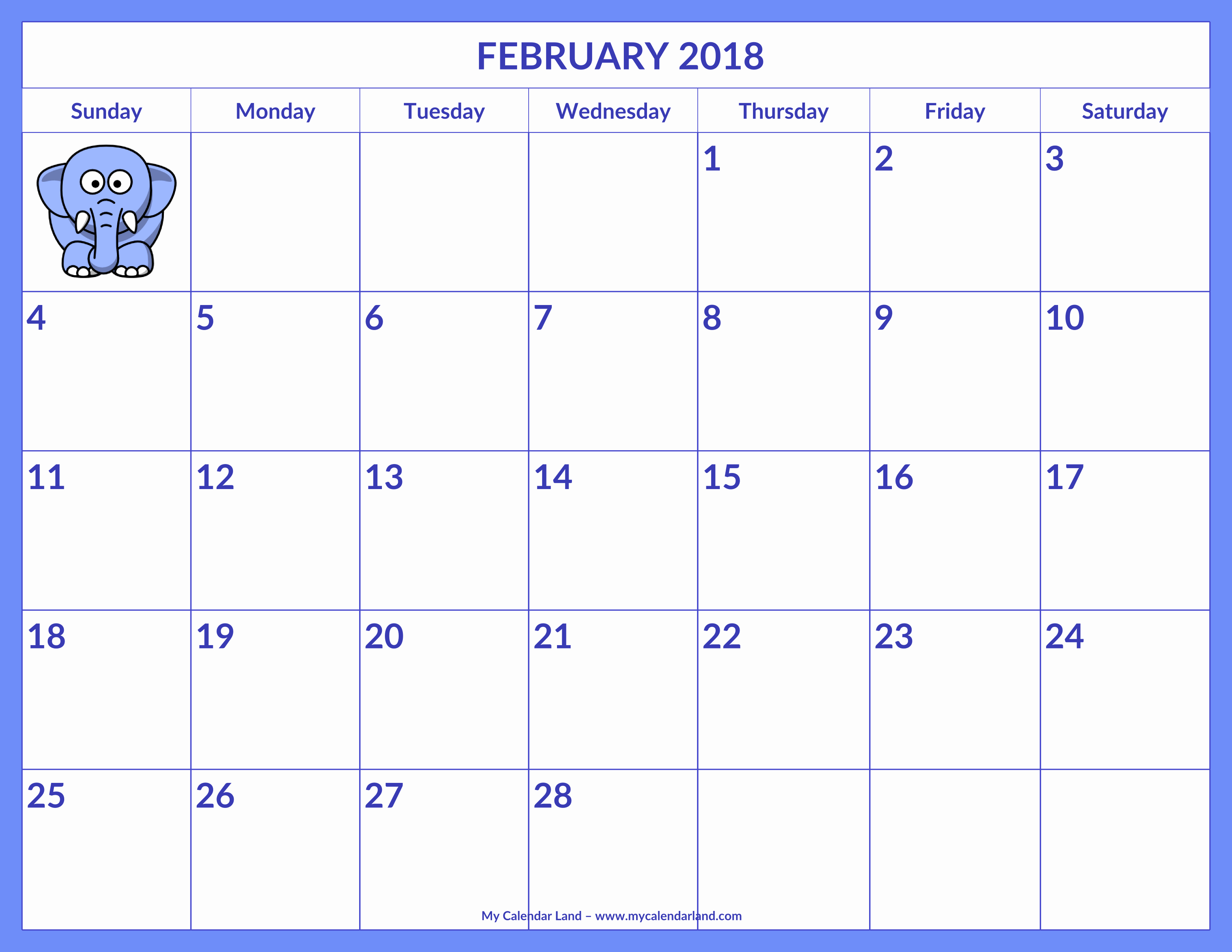 Blank Calendar for Kids Inspirational February 2019 Calendar My Calendar Land