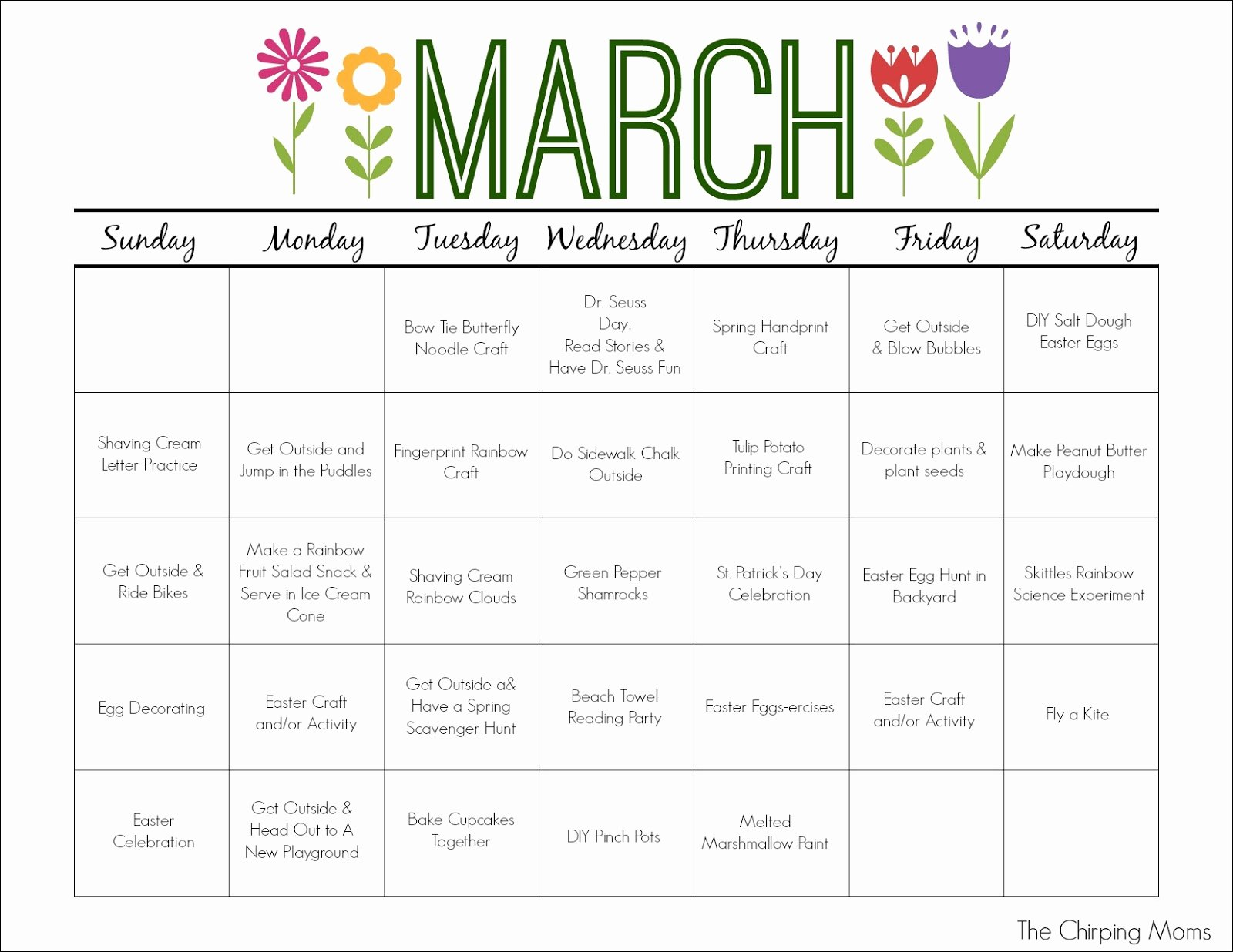 Blank Calendar for Kids Inspirational March Printable Activity Calendar for Kids the Chirping Moms