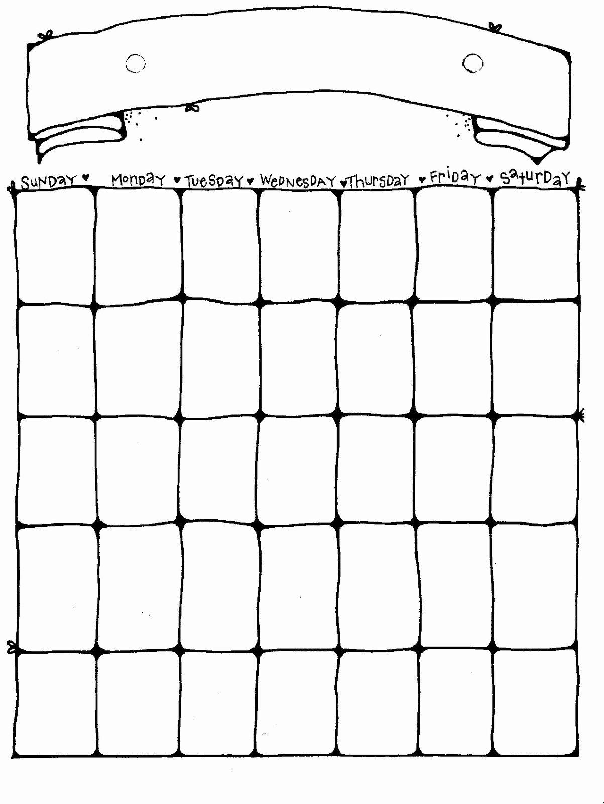 Blank Calendar for Kids Lovely 14 Blank Activity Calendar Template Printable