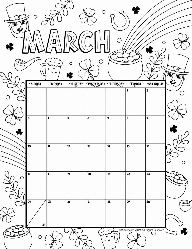 Blank Calendar for Kids Lovely March 2019 Coloring Calendar Arts and Crafts