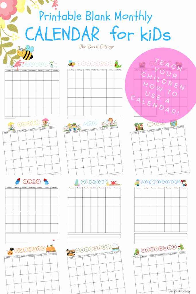 Blank Calendar for Kids New Download the Free Printable Blank Monthly Calendar for