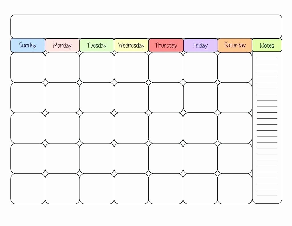 Blank Calendar for Kids Unique Printable Calendar Kid Friendly