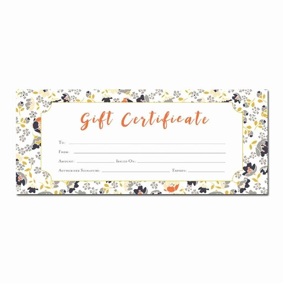 Blank Certificates to Print Beautiful Floral Print Blank Gift Certificate Premade Gift