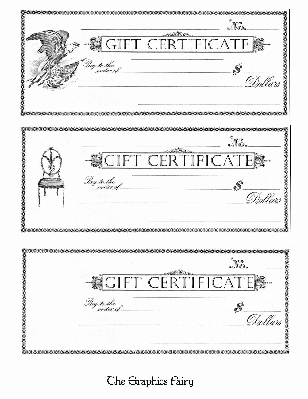 Blank Certificates to Print Elegant Free Printable Gift Certificates the Graphics Fairy