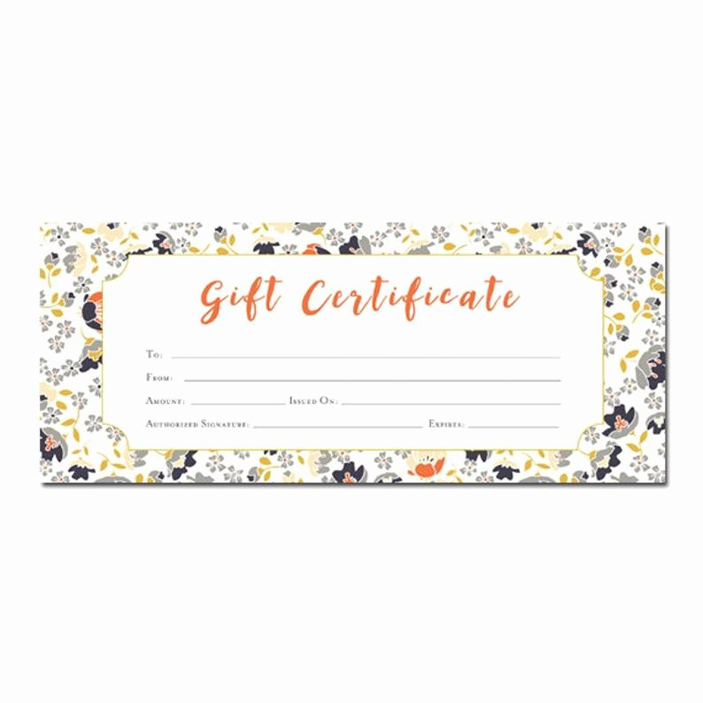 Blank Certificates to Print Inspirational Floral Print Blank Gift Certificate Premade Gift
