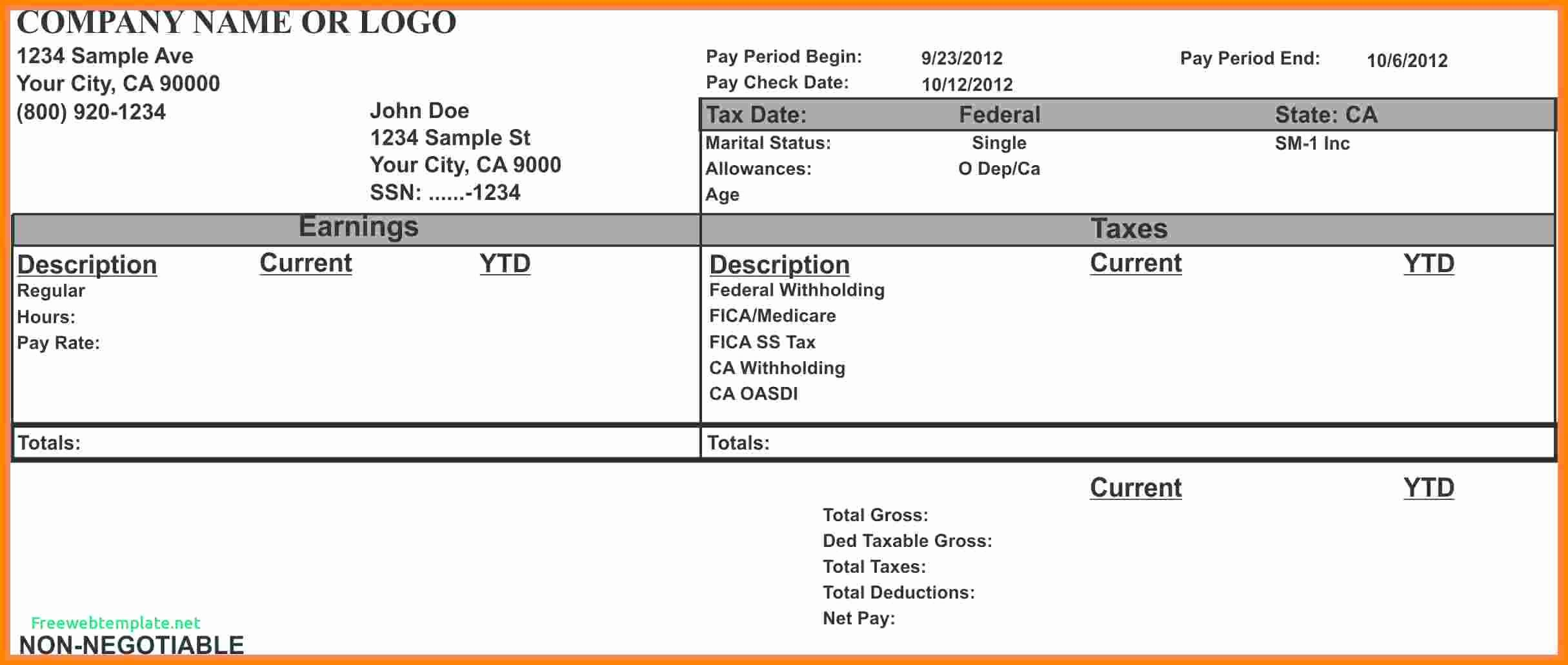 Blank Check Template Word Unique 7 Paycheck Stub Template for Excel