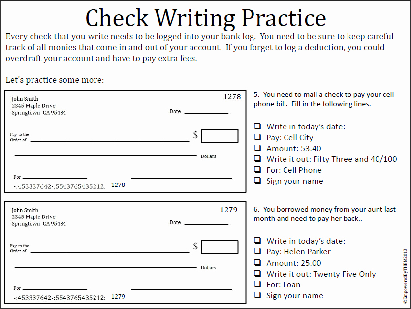 Blank Checks for Kids Awesome Empowered by them Writing Checks