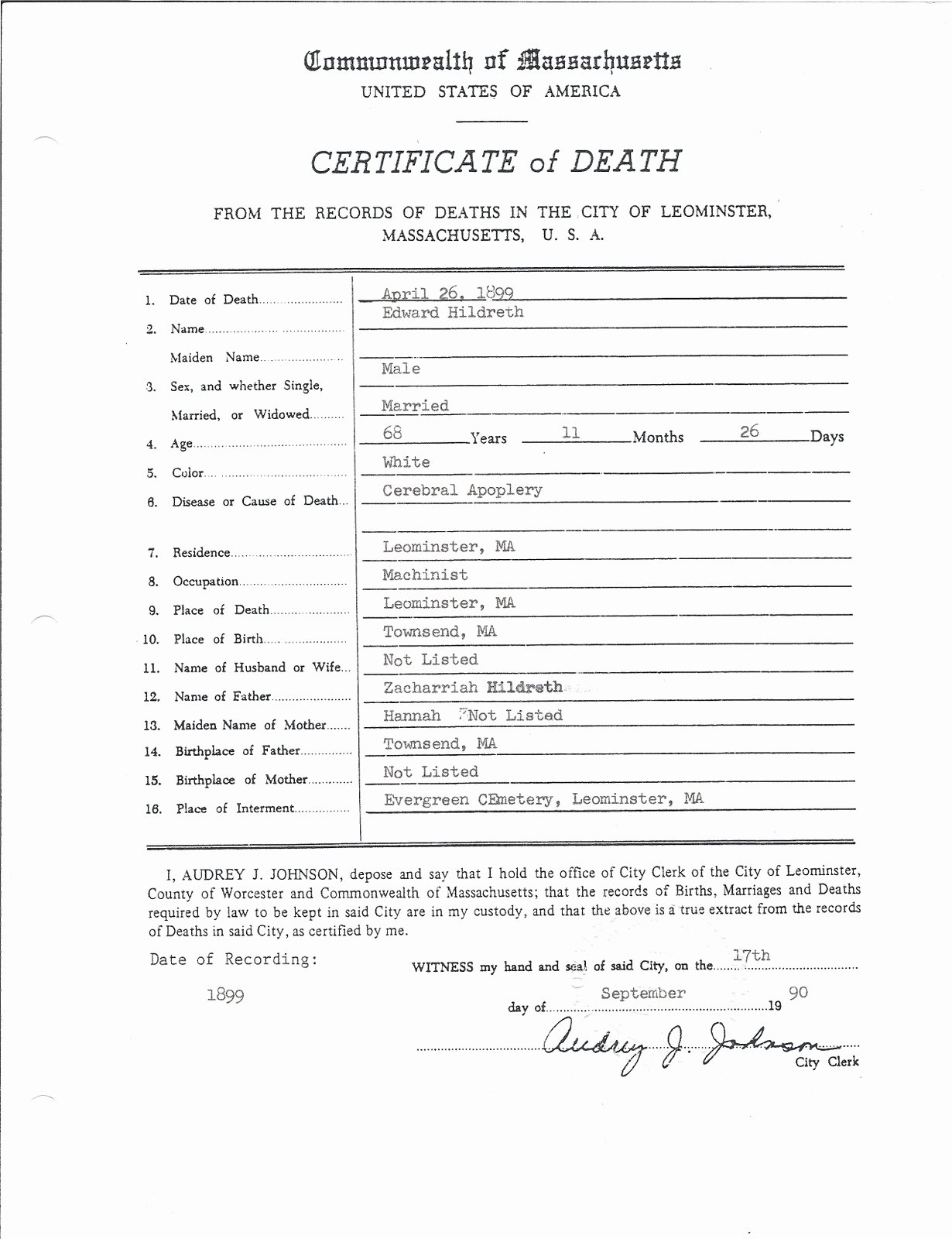 Blank Death Certificate form Best Of Genea Musings Treasure Chest Thursday Post 76 Edward