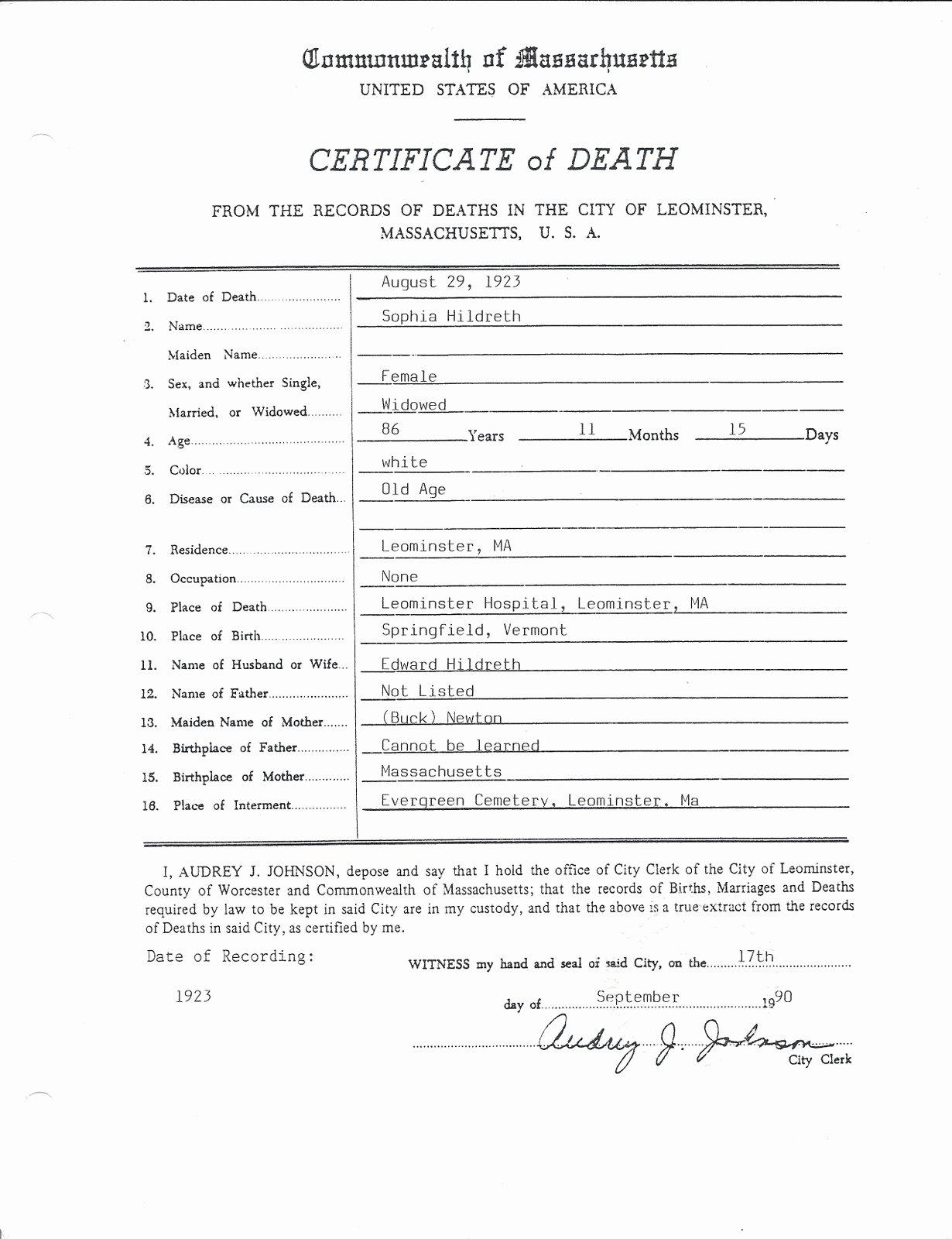 Blank Death Certificate form Best Of Genea Musings Treasure Chest Thursday sophia Newton