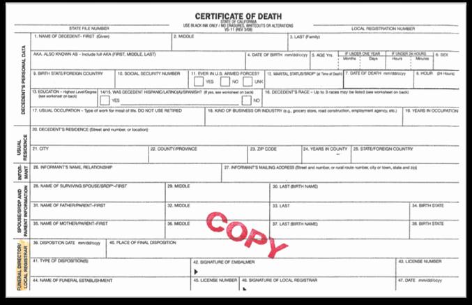 Blank Death Certificate form Lovely Blank Certificate Google Search