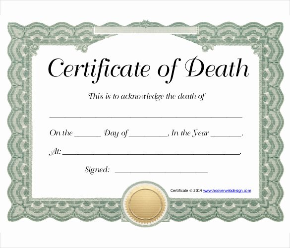 Blank Death Certificate form Lovely Sample Death Certificate Template – 11 Free Word Pdf