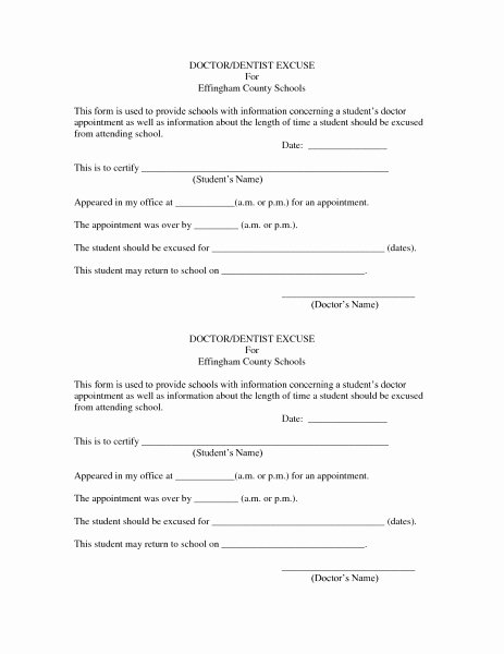 Blank Doctors Excuse form Awesome Doctor Excuse for Work forms