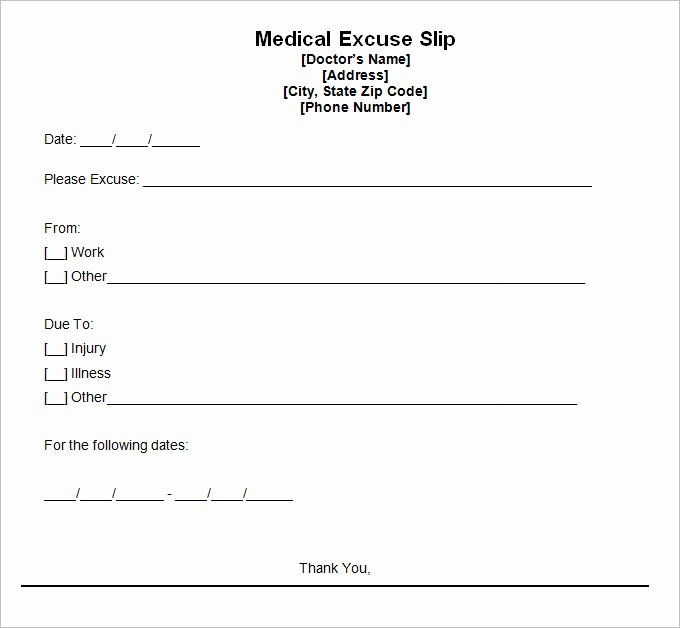 Blank Doctors Excuse form Awesome Doctors Excuse Template