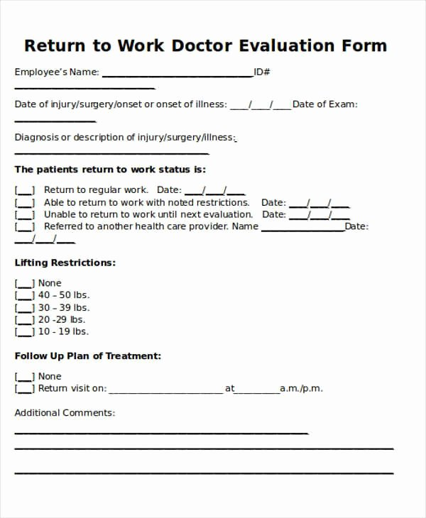 Blank Doctors Excuse form Awesome Return to Work Doctors Note Template toma Daretodonate