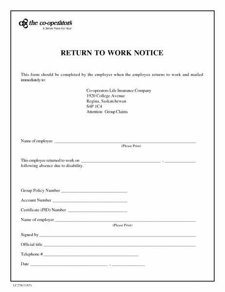Blank Doctors Excuse form Beautiful Fake Return to Work form