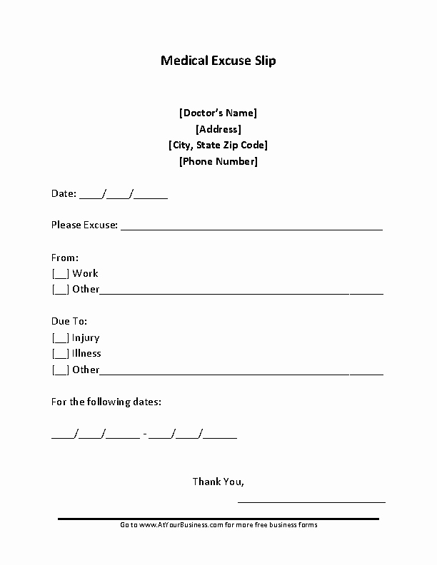 Blank Doctors Excuse form Beautiful Sample Blank Doctors Note for Missing Work Excuse Pdfsimpli