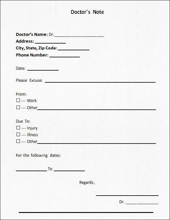 Blank Doctors Excuse form Luxury Doctor S Note Blank form