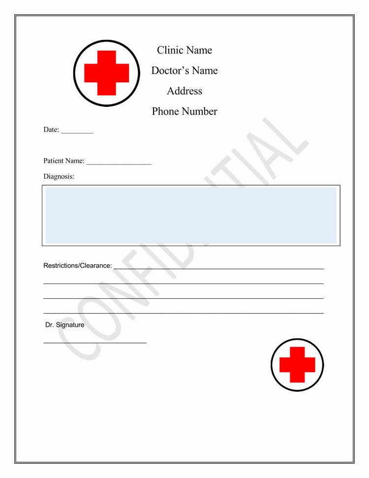 Blank Doctors Note for School Awesome 36 Free Fill In Blank Doctors Note Templates for Work