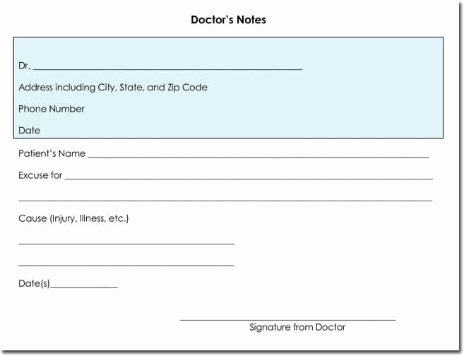 Blank Doctors Note for School Unique Doctor S Note Templates 28 Blank formats to Create