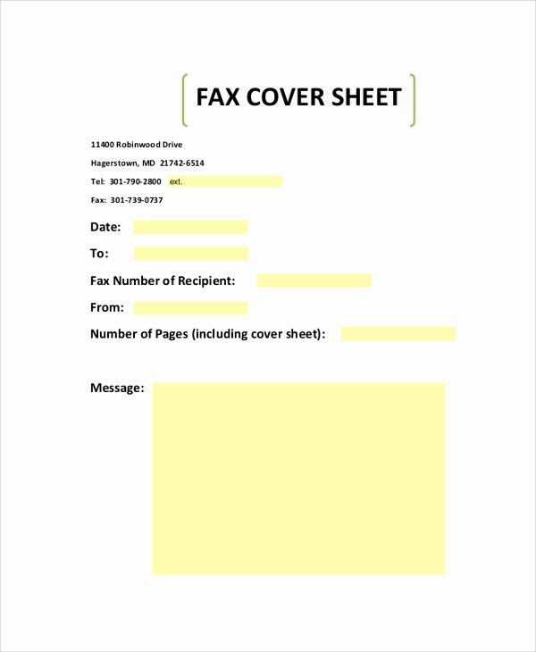Blank Fax Cover Page Best Of Sample Fax Cover Sheet 9 Examples In Pdf