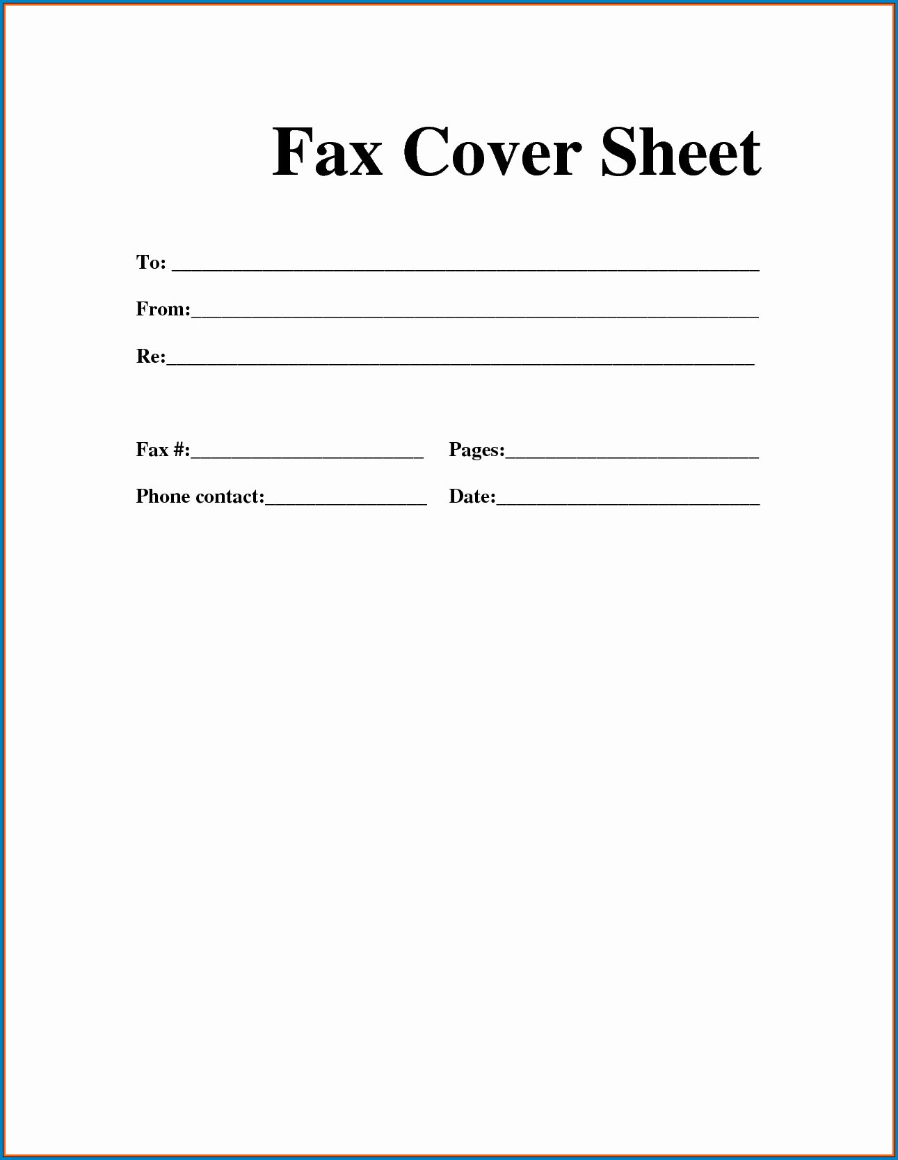 Blank Fax Cover Page Inspirational Free 20 Blank Fax Cover Sheet Sample 5795