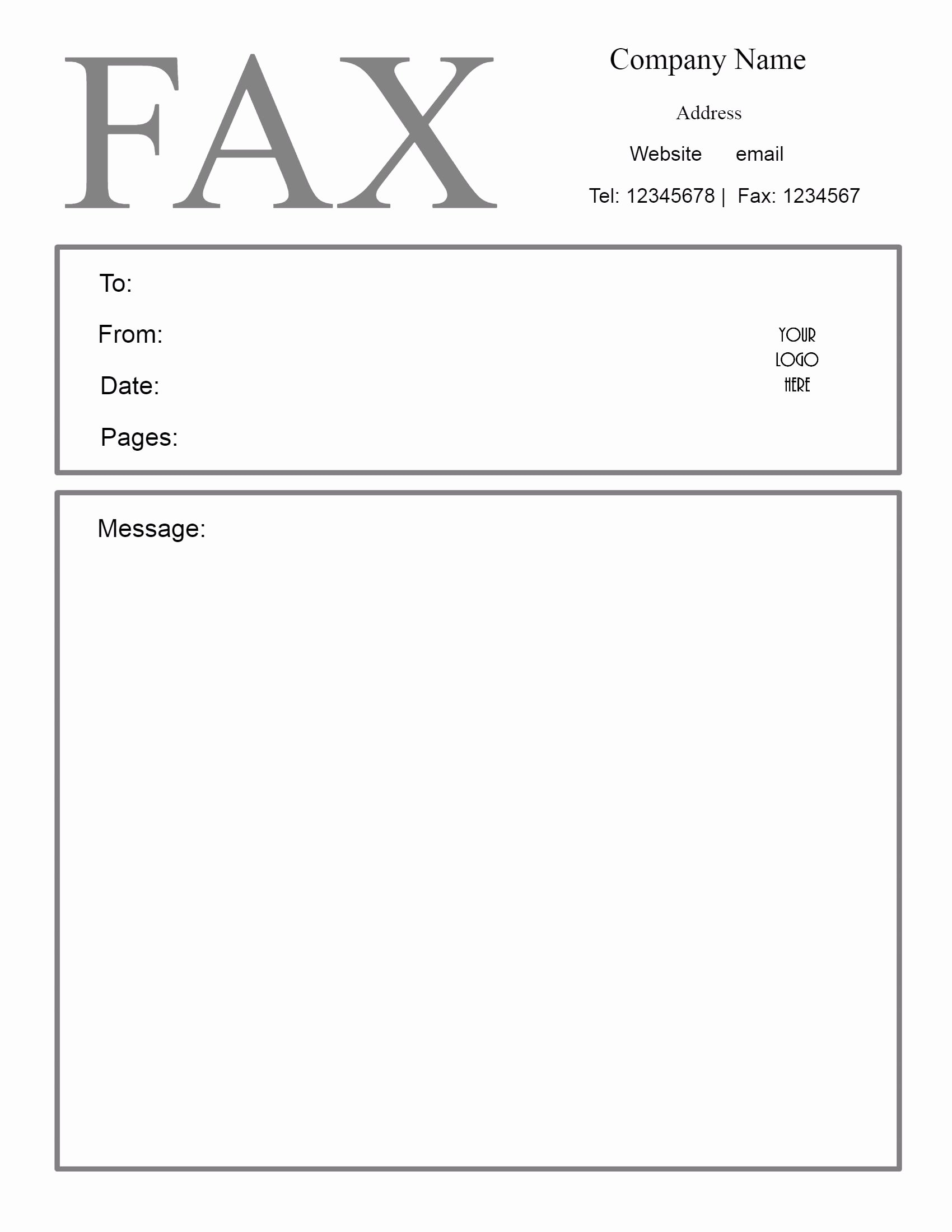 Blank Fax Cover Page Luxury Free Fax Cover Letter Template