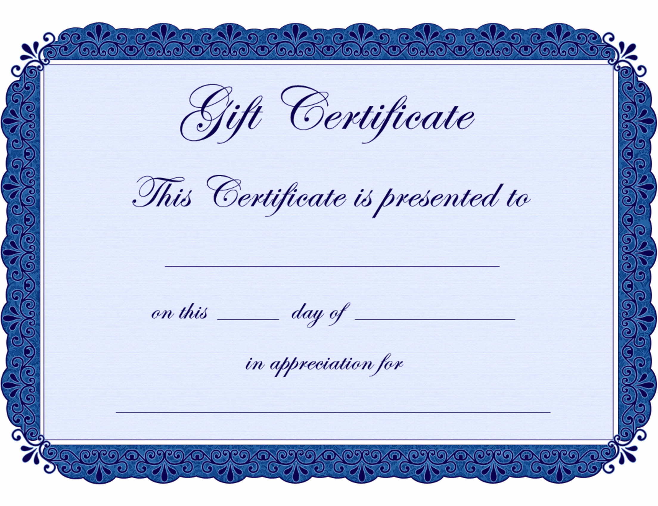 Blank Gift Certificate Template Free Awesome Blank Printable Certificates Clipart Best