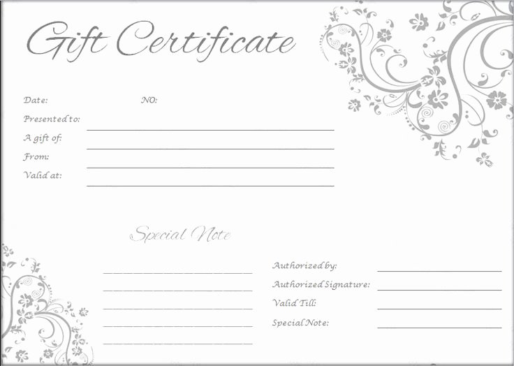 Blank Gift Certificate Template Free Awesome Gift Certificate Template