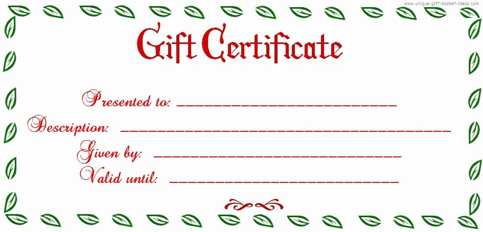 Blank Gift Certificate Template Free New Free Printable Blank Gift Certificates
