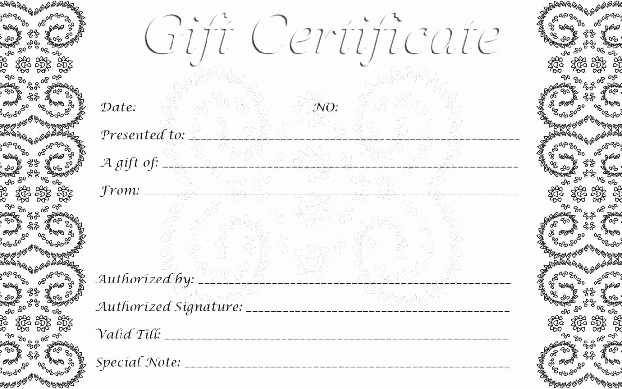 Blank Gift Certificate Template Free Unique 28 Cool Printable Gift Certificates