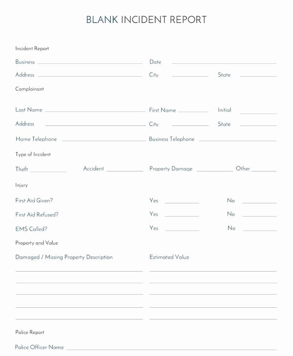 Blank Incident Report form Awesome 15 Employee Incident Report Templates – Pdf Word Pages