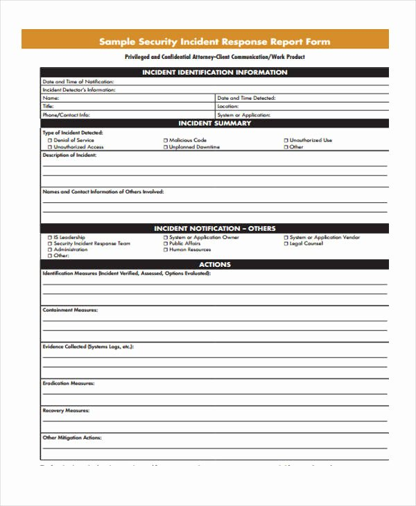 Blank Incident Report form Awesome Free 40 Incident Report form Examples