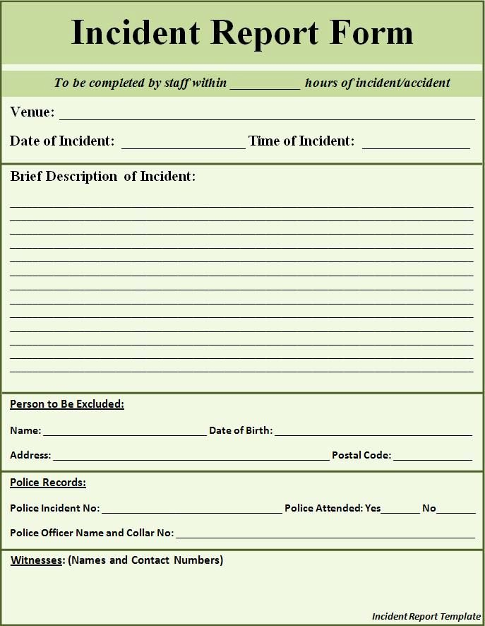 Blank Incident Report form Beautiful Printable Sample Police Report Template form