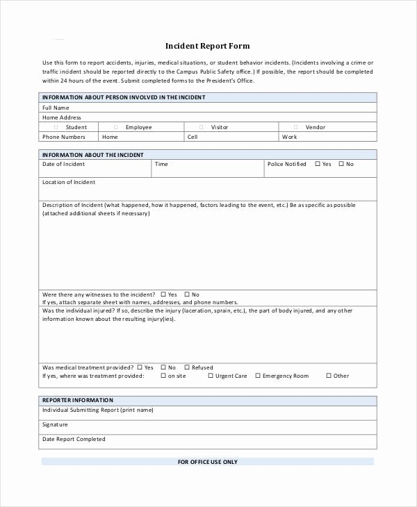 Blank Incident Report form Best Of Blank Incident Report Template 18 Free Pdf Word Docs