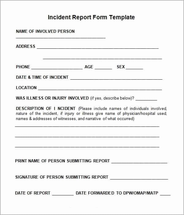 Blank Incident Report form Elegant 10 Incident Report Templates Word Excel Pdf formats