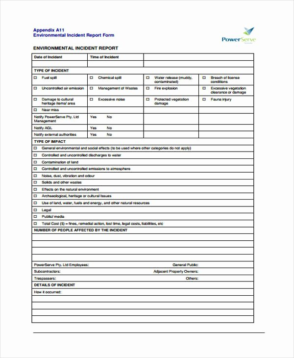Blank Incident Report form Lovely Free 40 Incident Report form Examples