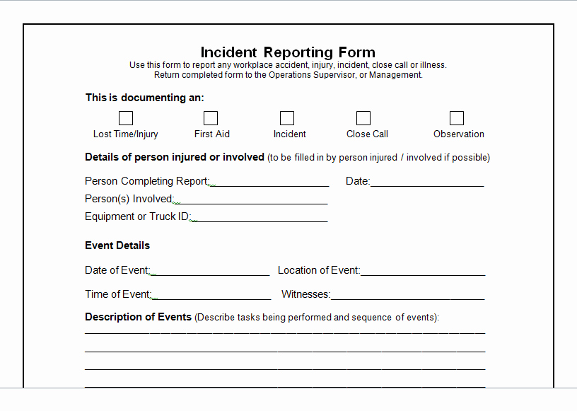 Blank Incident Report form New Weekly Project Status Report Template Excel Tmp